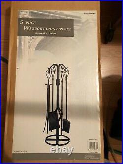 Dagan 5815 Black 5 Piece Wrought Iron Fireplace Tool Set