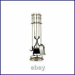 Dagan Five Piece Fireplace Tool Set, Antique Brass