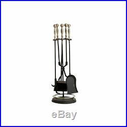 Dagan Five Piece Fireplace Tool Set, Antique Brass and Black