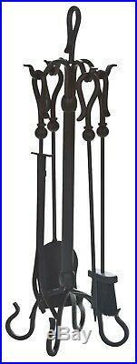 Dagan Five Piece Wrought Iron Fireplace Tool Set, Black