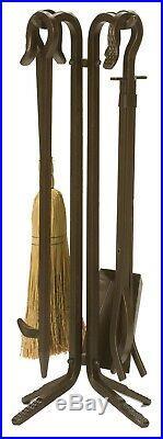 Dagan Five Piece Wrought Iron Fireplace Tool Set, Bronze