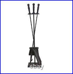 Dagan Four Piece Fireplace Tool Set, Black