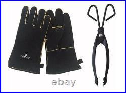 Decofire Bundle Fireplace Tool Set Leather Gloves Tongs Wood Carrier ExpressPost