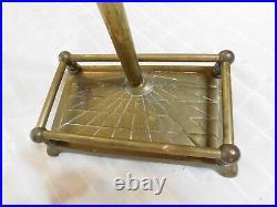 Duck heads brass fireplace tool set & stand tongs broom poker shovel mallard