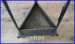 Egyptian Revival Cast Iron and Brass Fireplace Tool Set