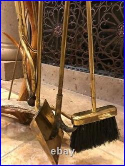 Elk Stag (moose Base) And Brass Fireplace Tool Set, Stunning, One Of A Kind
