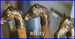 Equestrian Wood & Brass Horse Head 5 Piece Fireplace Tool Set In Stand B mark
