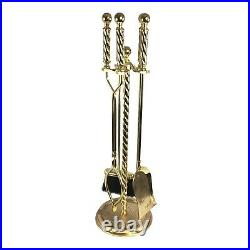 FH 5 Five Piece Fireplace Tool Set Swirl Design Heavy Shiny Gold Brass with Stand