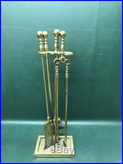 Fine Set Of Brass Virginia Metalcrafters Fireplace Tools(5Pc)