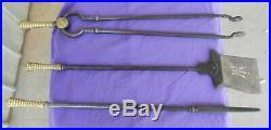 Fire Place Tool Set Pierced Shovel Tongs and Poker Victorian Antique