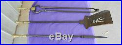 Fire Place Tool Set Pierced Shovel Tongs and Poker Victorian Antique (b)