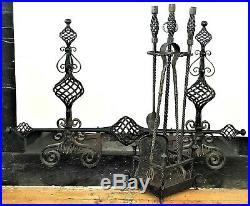 Fireplace Andirons, Tool Set, wrought iron, c1890 Richardsonian, Chicago, 29t