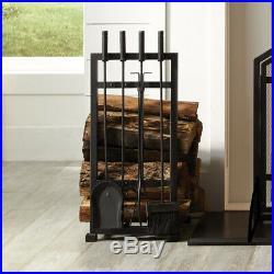 Fireplace Harper Log Holder With 4 Piece Shovel Tongs Tool Set Heat Resistant