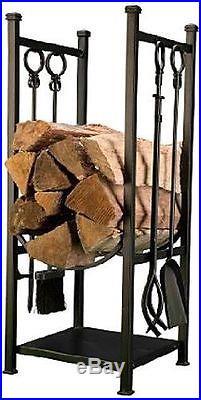 Log Bin 4-piece Tool Set Firewood Stand Holder Rack Storage Panacea