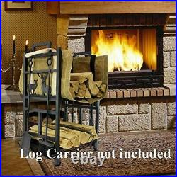 Fireplace Log Holder 2 Layer Iron Fire Wood Rack with 4 Firepit Tools Set Brus