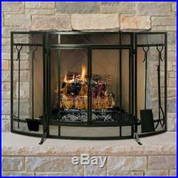 Fireplace Screen and Tool Set Combo 3-Panel Curved with Tools in Vintage Iron
