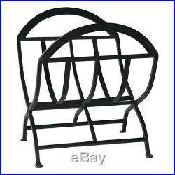 Fireplace Set Screen Tools Tool Stand Log Rack Holder Black Wrought Iron Metal