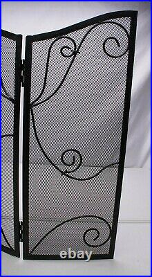 Fireplace Set Screen Tools Tool Stand Log Rack Holder Black Wrought Iron Metal
