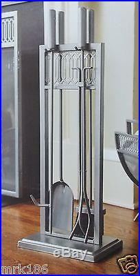 fireplace tool set 4 pc with silver finish new shovel poker brush tongs rh fireplace tool set com