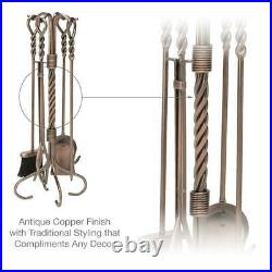 Fireplace Tool Set 5 Piece Antique Copper Black Wrought Iron Poker Shovel Stand