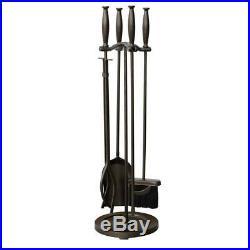 Fireplace Tool Set 5 Piece Bronze Cylinder Handles Heavy Weight Construction