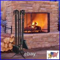 Fireplace Tool Set 5 Pieces Fireplace Iron Standing Tools Set Black Steel