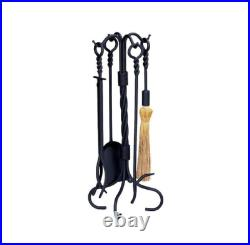Fireplace Tool Set Black Wrought Iron 5 Piece Ring Twist Handle Heavy Weight