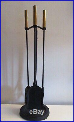 Fireplace Tool Set Brass & Iron Mid-century Modern Pilgrim USA Very Nice Tools
