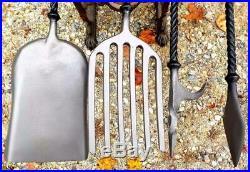 Fireplace Tool Set Hand Made Brass & Iron Machinist Quality
