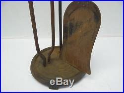 Fireplace Tool Set Shovel Tong Brass Handle Iron Woodstove Tools with Stand Used