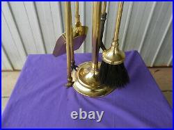 Fireplace Tool Set Solid Cast Brass Round Base 5 Piece England