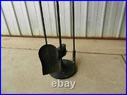 Fireplace Tool Set, Stand, Poker, Shovel and Broom, Cast Iron Poker Vintage