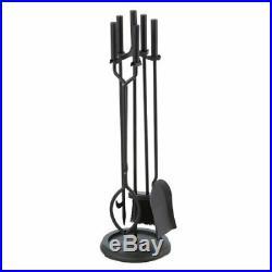 Fireplace Tool Set of 5 Piece Stand Black Wrought Iron Log Filter Shovel Poker