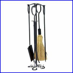 Fireplace Tool Set with Wrought Iron Black Sparkguard & 5 Piece Black Wrought