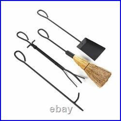 Fireplace Tools Set 5 Pcs Black Wrought Iron Broom Poker Tongs Shovel Scroll