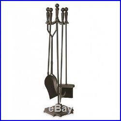 Fireplace Tools Set 5-Piece Wrought Iron Poker Brush Shovel Tongs Log Tool Brush
