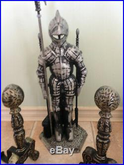 Fireplace Tools Set Accessories Medieval Knight Companion Set