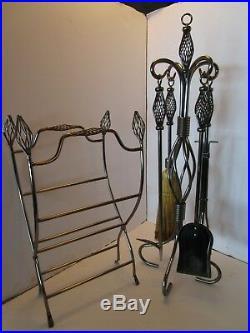 Fireplace Tools Stand & log Holder Rack 6 pc Set Birdcage pewter tone iron decor