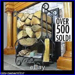 Fireplace Toolset Log Holder Antique Firewood Tools Iron Poker