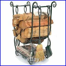 Fireplace Toolset Log Holder Antique Firewood Tools Iron Poker Shovel Brush Set