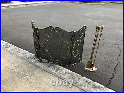 Fireplace screen solid brass with matching tool set