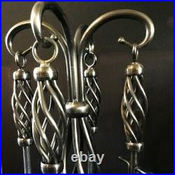 Fireplace tool set. 30. Brushed chrome. Twisted iron styled handles and stand