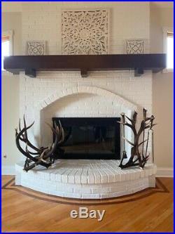 Fireplace tool set accessories elk antler