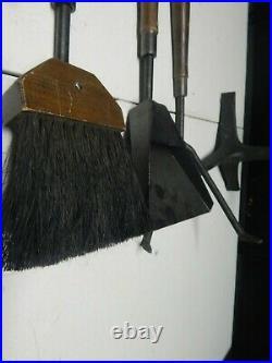 Fireplace tool set stoker broom brush shovel scoop iron wood poker VINTAGE