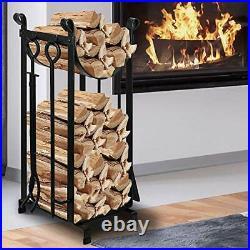 Firewood Log Holder Fireplace Storage Rack Poker Tool Set Iron Indoor Outdoor