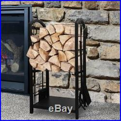 Firewood Log Rack Holder Fireplace 4 Tool Set Storage Stove Heavy Duty Gift NEW
