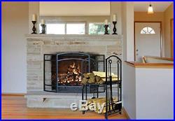 Firewood Rack Bin Log Holder With Fireplace Tools Set Brush Shovel Poker Tongs