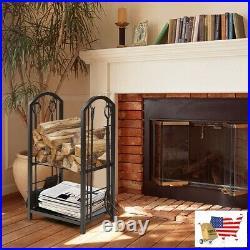Firewood Rack Fireplace Log Rack With 4 Tools Set Fireside Firewood Holder Black