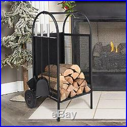 Firewood Rack Log Cart Large Wheels, Mover 3 Fireplace Tool Set Carriers Holders