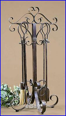 Five Farmhouse Restoration Brown Hand Forged Metal Decorative Fireplace Tools